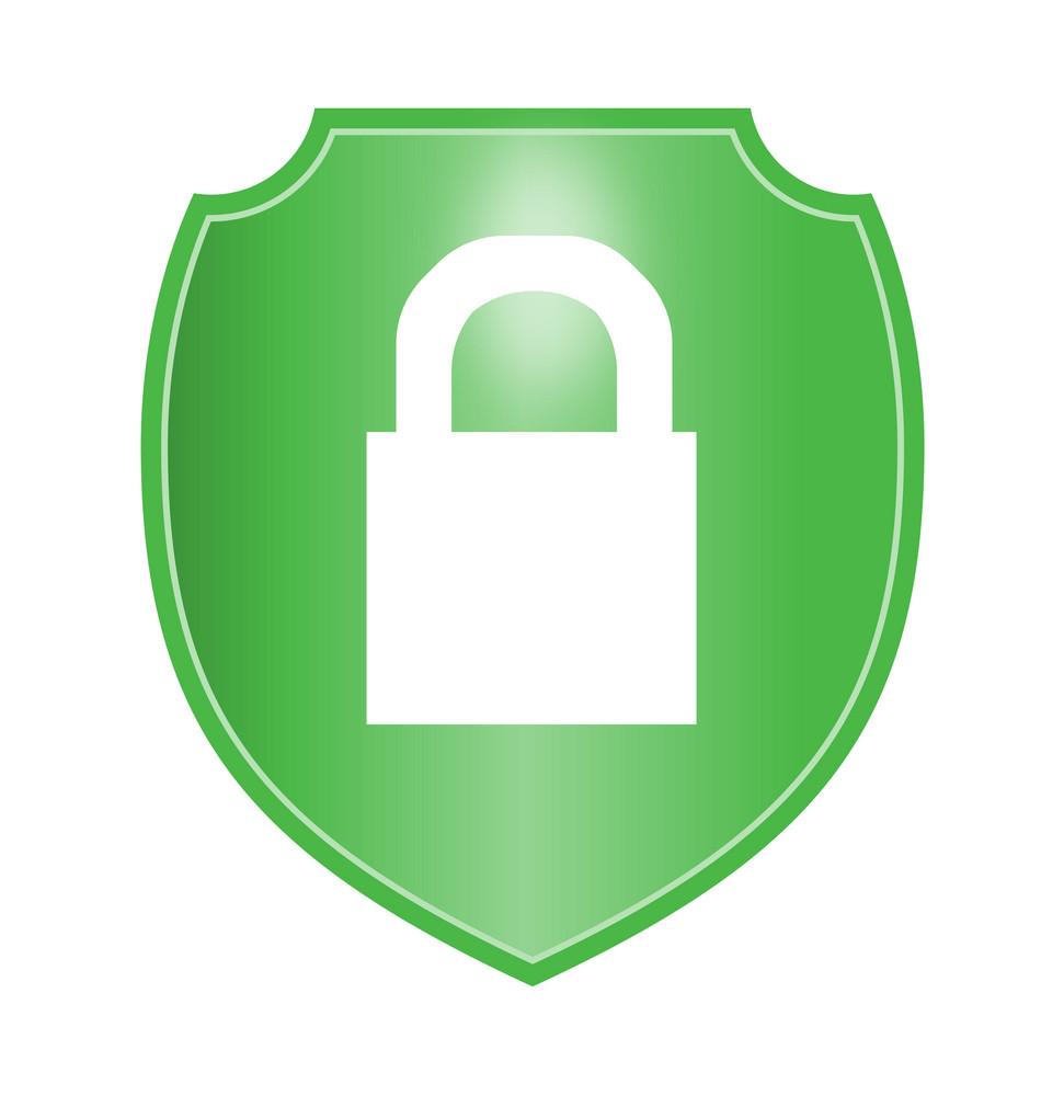 Padlock In Green Shield