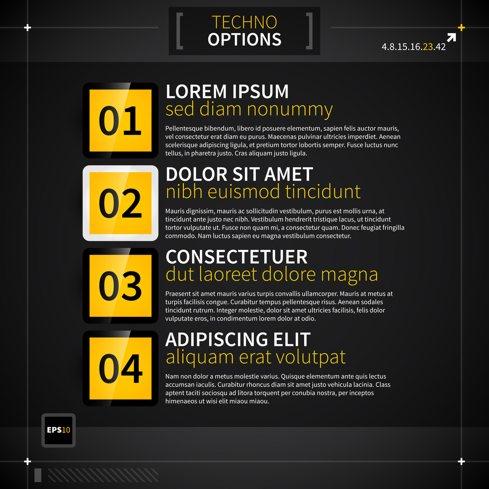 Page Layout With Four Techno Options.