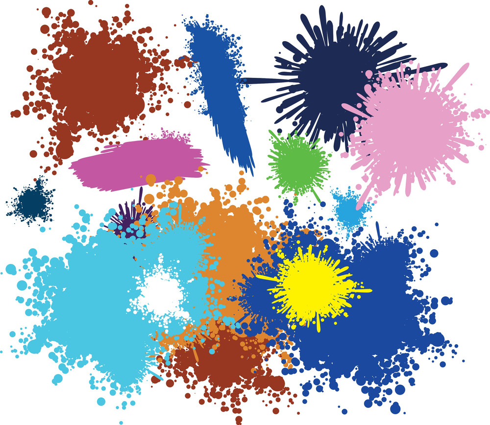 Paint Blots. Vector. No Trace - All Shapes Clear And Smooth.