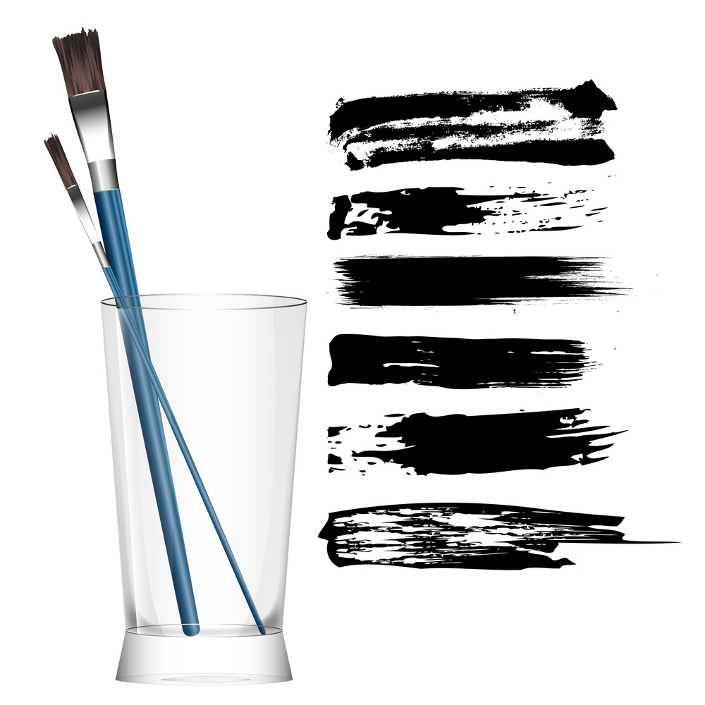 Paint Brush And Glass Vector