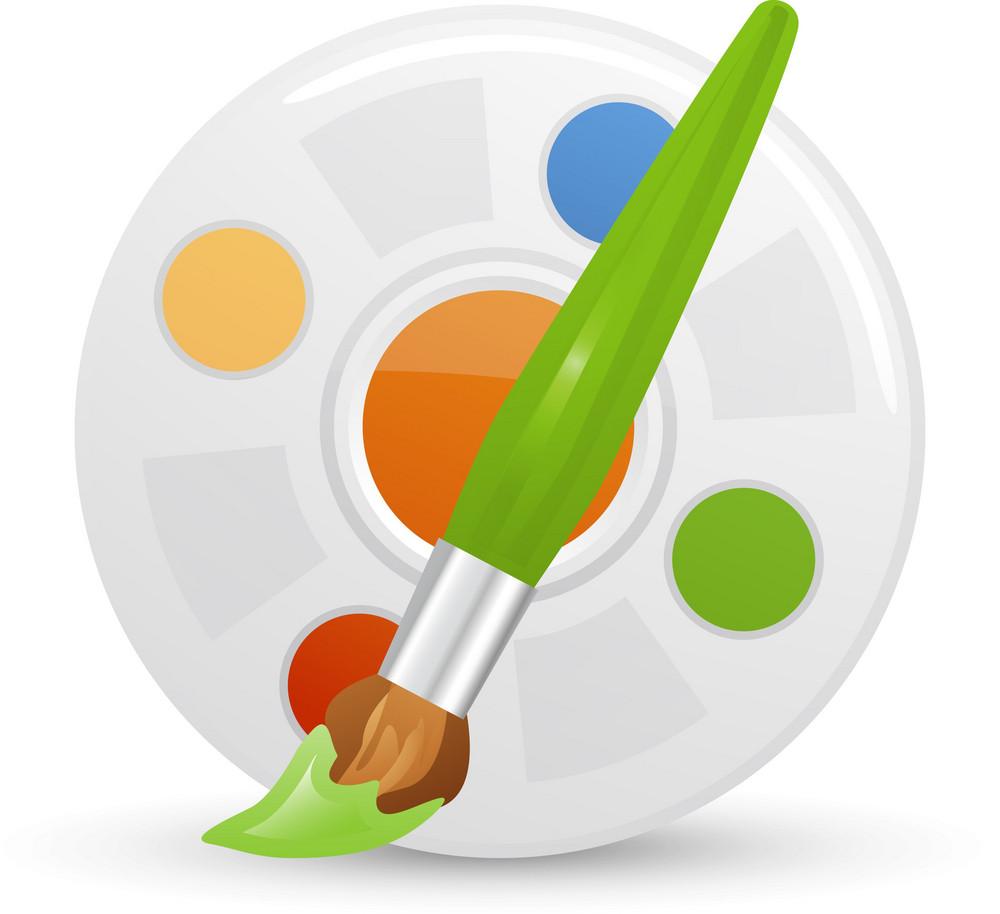 Paint Brush And Palete Lite Art Icon