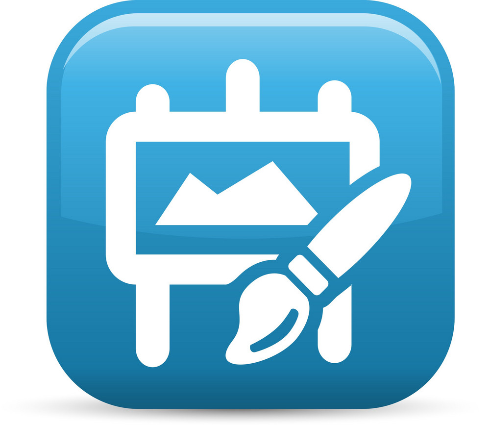 Paint Brush Easel Elements Glossy Icon