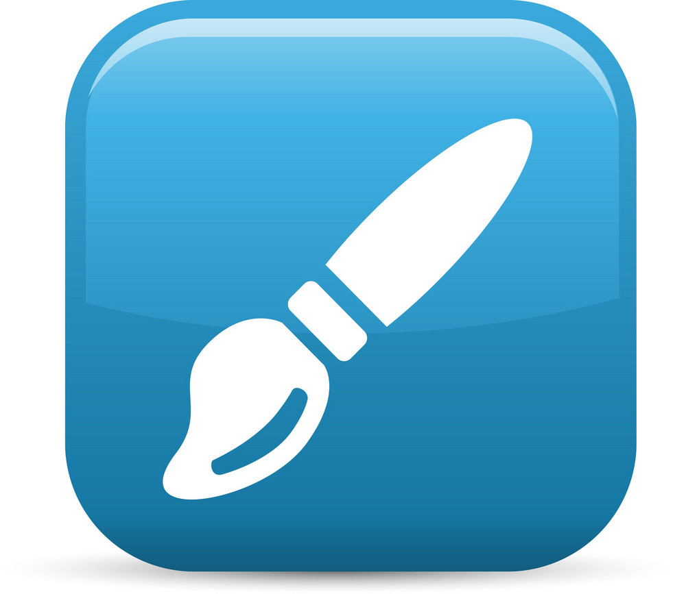 Paint Brush Elements Glossy Icon