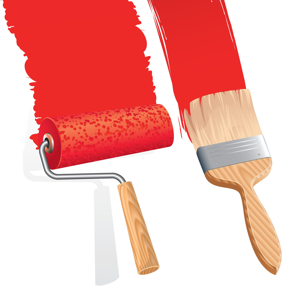 Paint Roller And Brush. Vector.