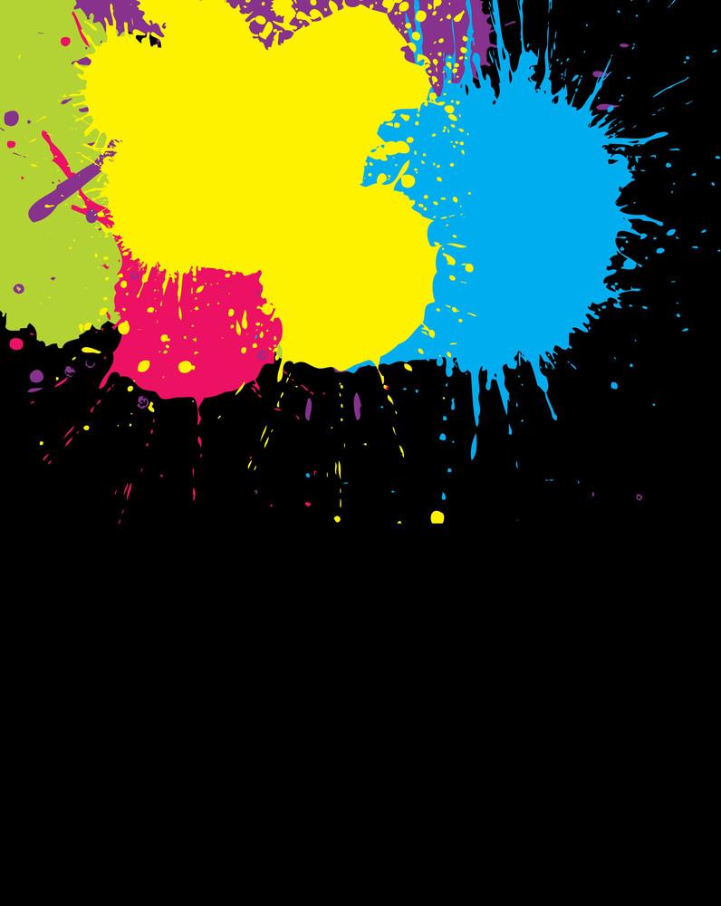 Paint Splash On Black Background Vector