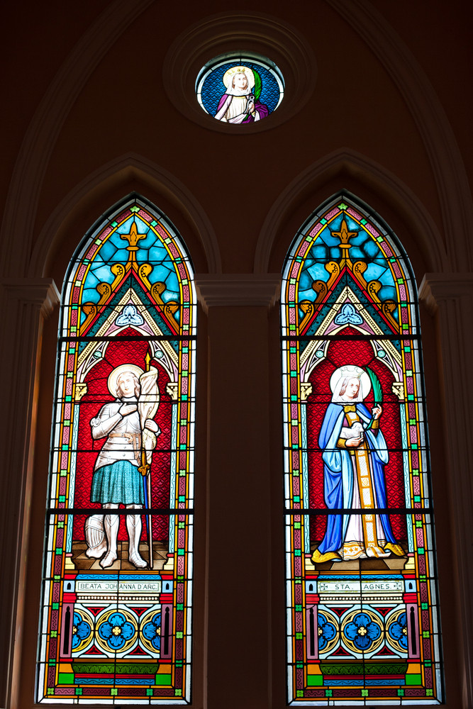 Painted Glasses of Saints in The Roman Catholic Church at Chanthaburi Province, Thailand. (The Cathedral of the Immaculate Conception)