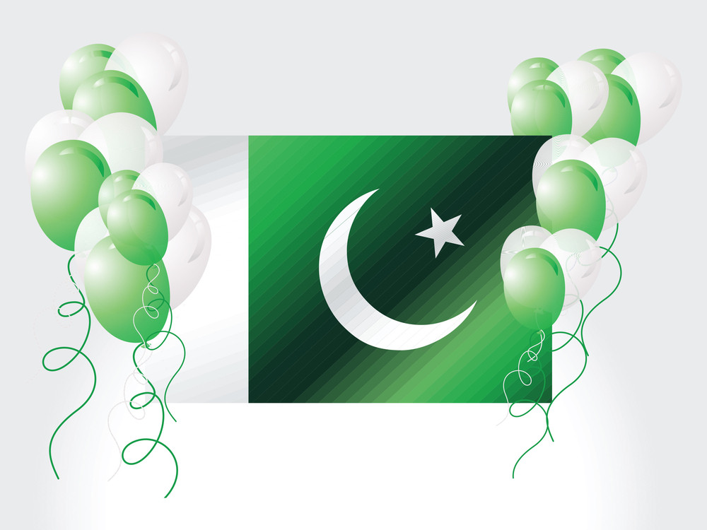 Pakistan National Flag With Balloons