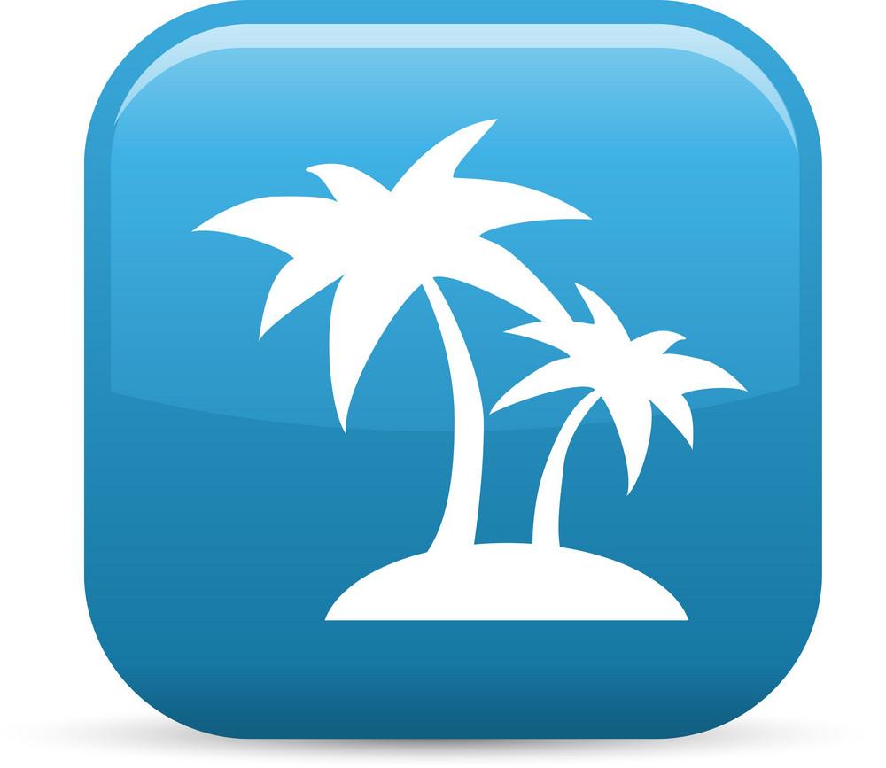 Palm Tree Island Elements Glossy Icon