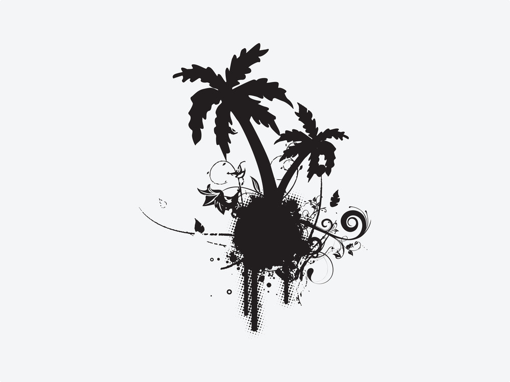 Palm Tree With Floral And Grunge Elements On White Background