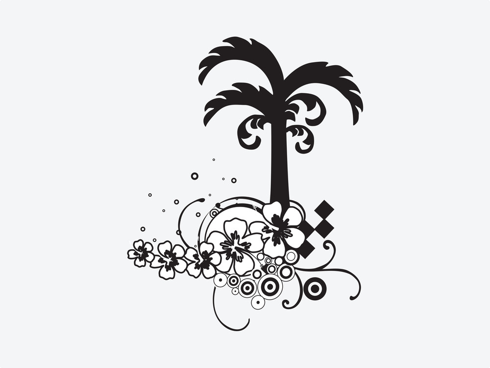 Palm Tree With Floral Elements On White Background