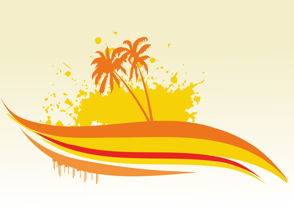 Palm Tree With Grunge Waves Vector Illustration