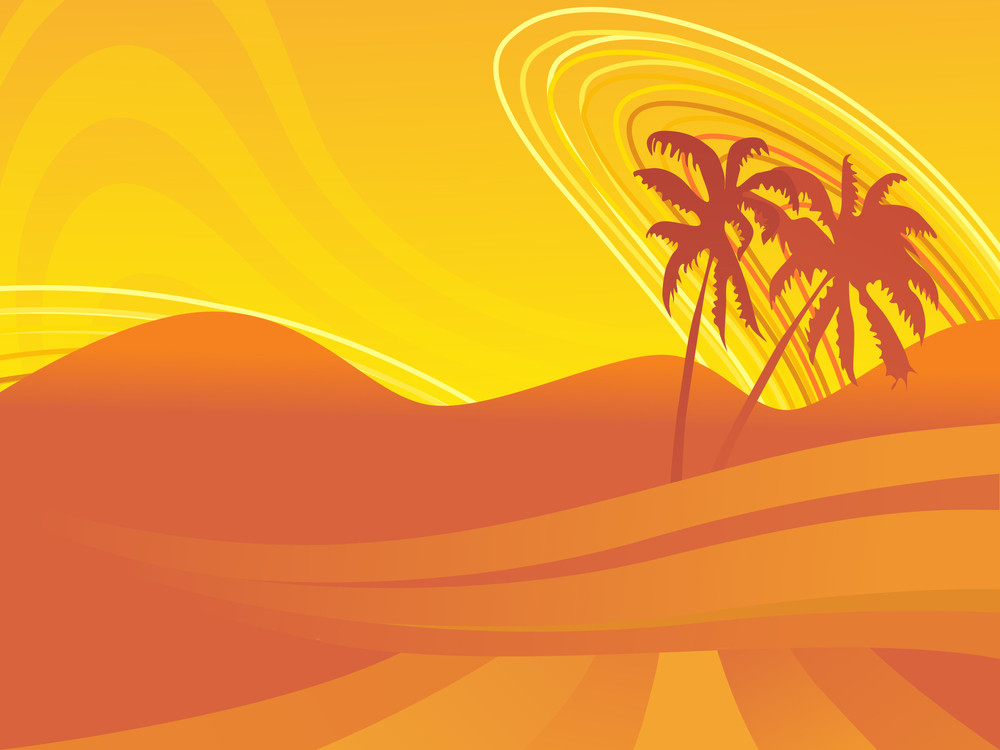 Palm Tree With Waves Wallpaper