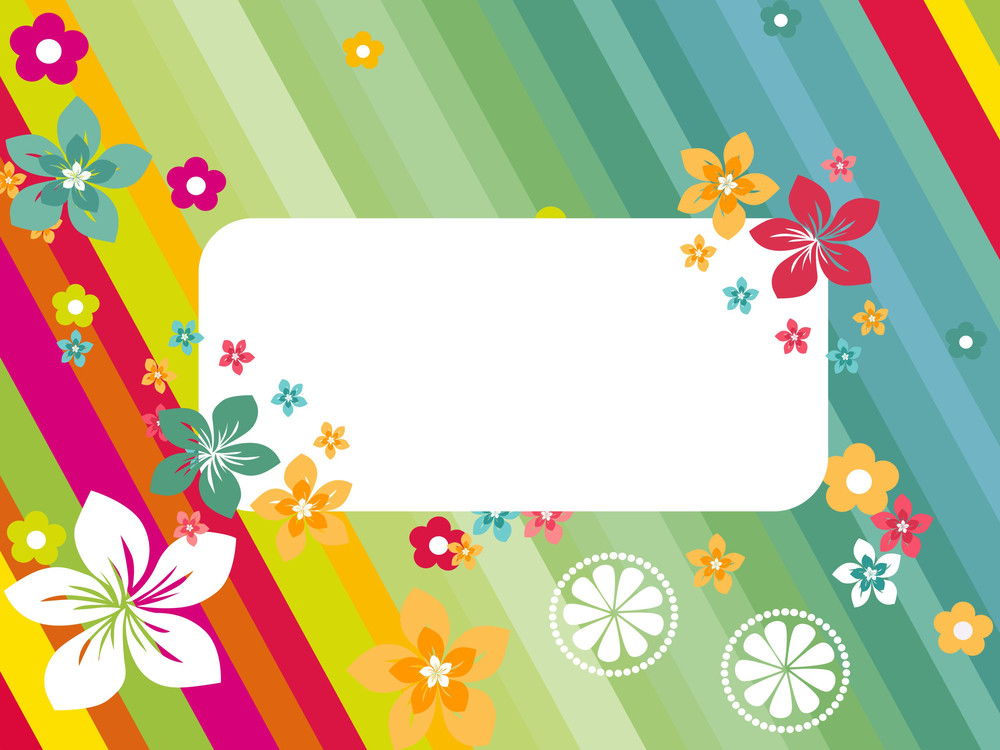 Panel Lines Background With Colorful Blossoms