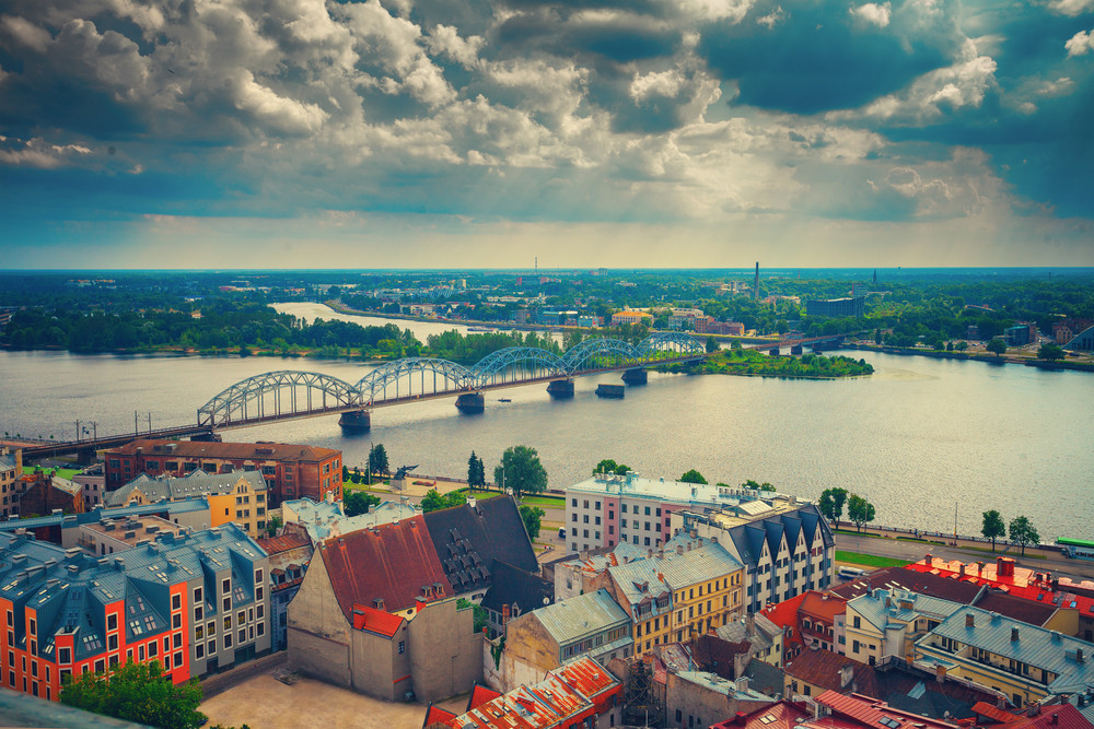 Panoramic wiev of Riga city with cloudy sky