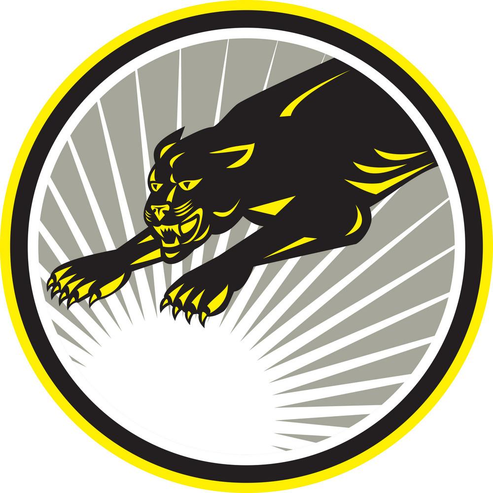 Panther Big Cat Growling Circle