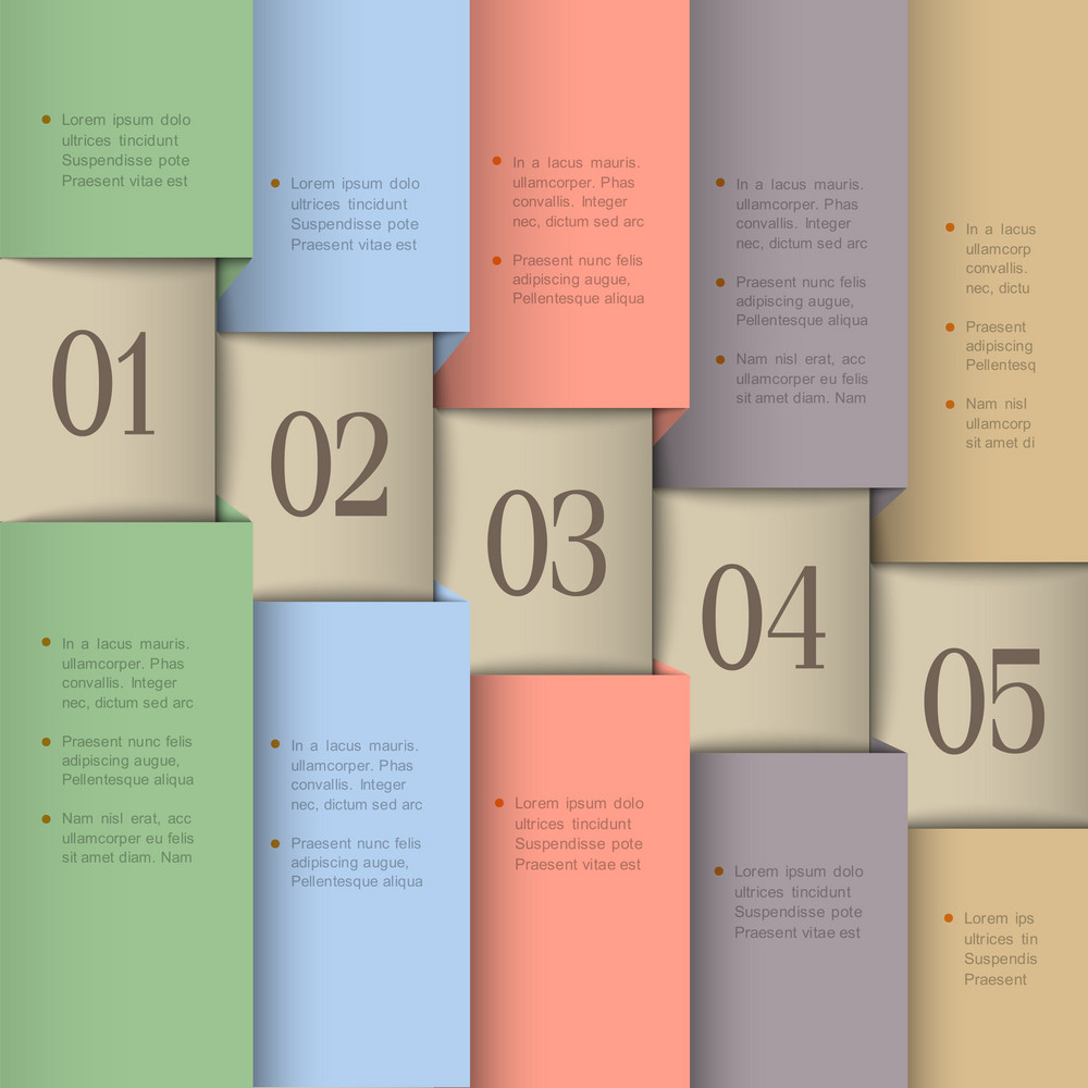 Paper Numbered Banners In Pastel Colors