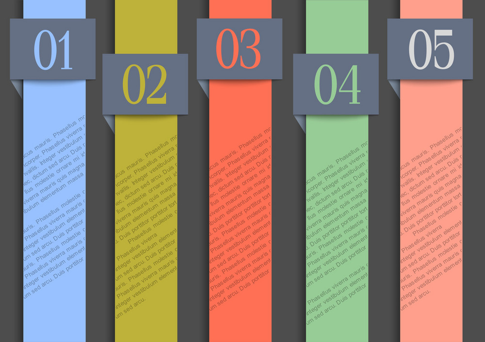 Paper Numbered Banners In Retro Colors