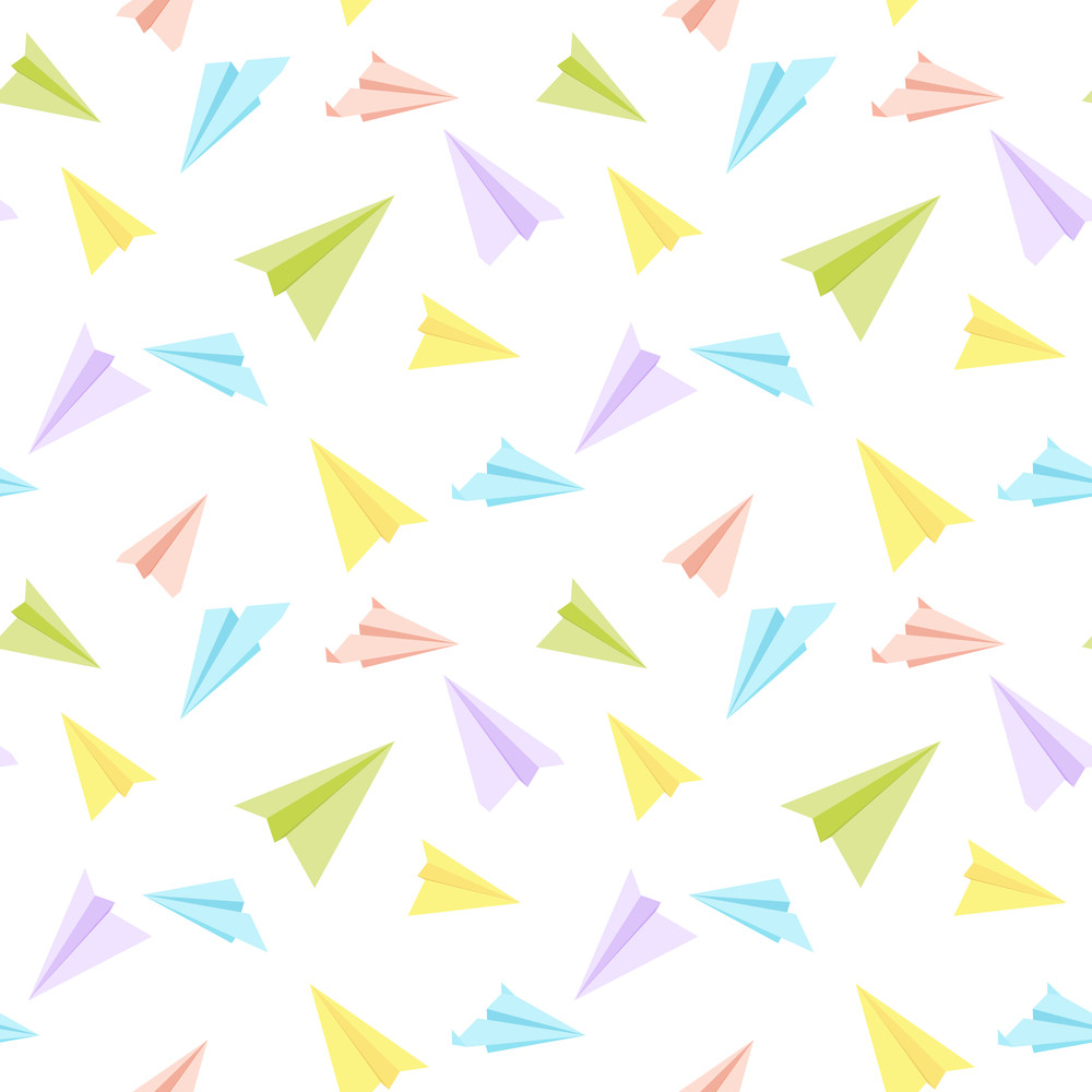 Paper Planes Seamless Texture. Vector.