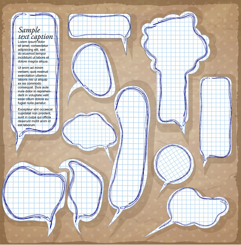 Paper Speech Bubbles. Vector.