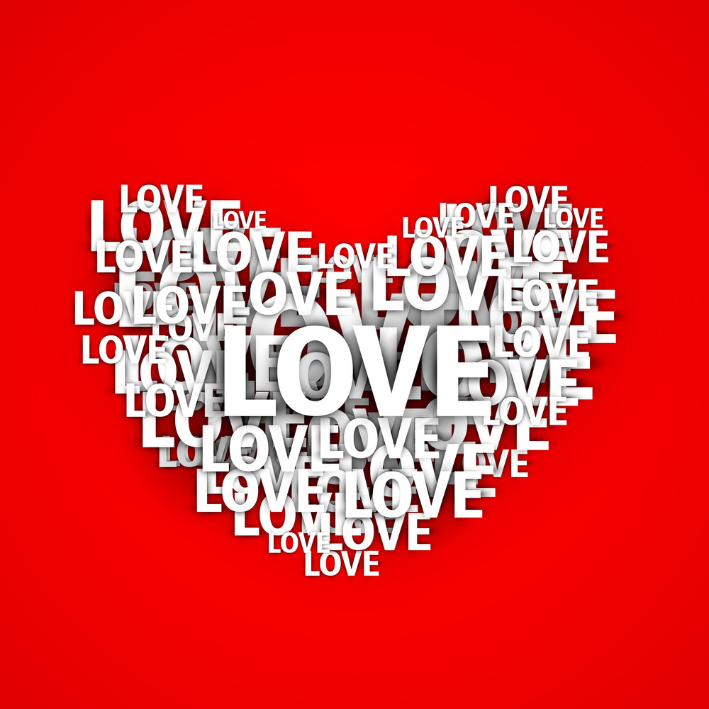 Paper Text Love On Red Background