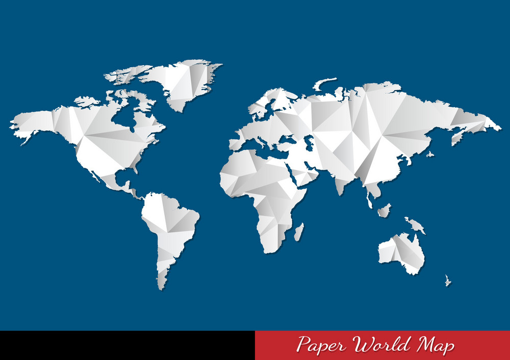 Paper World Map In Origami Style