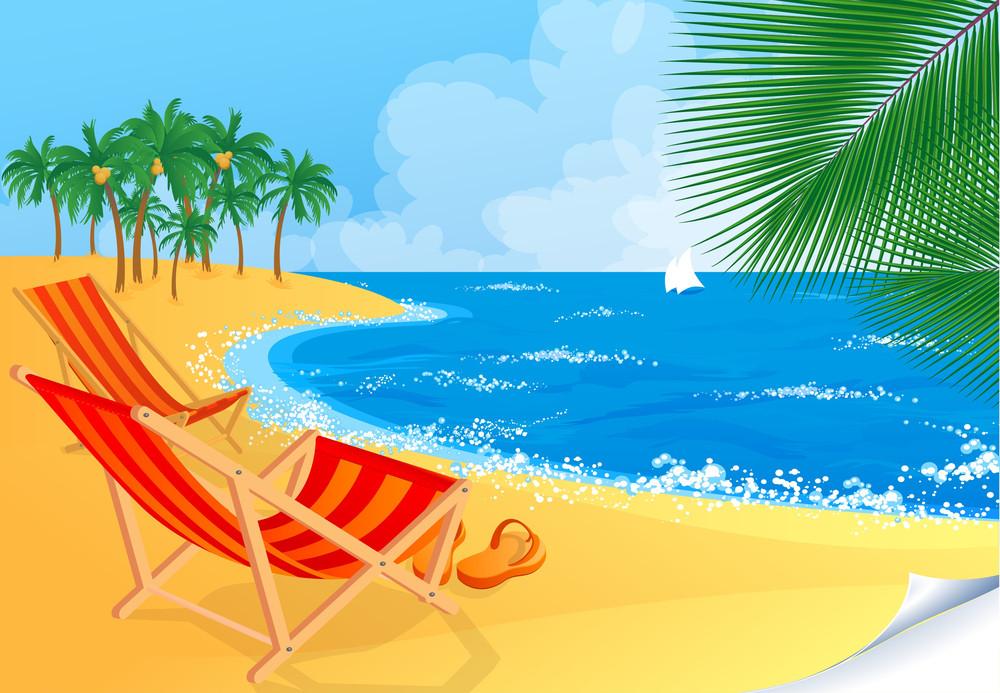 Paradise Beach Abstract. Vector.