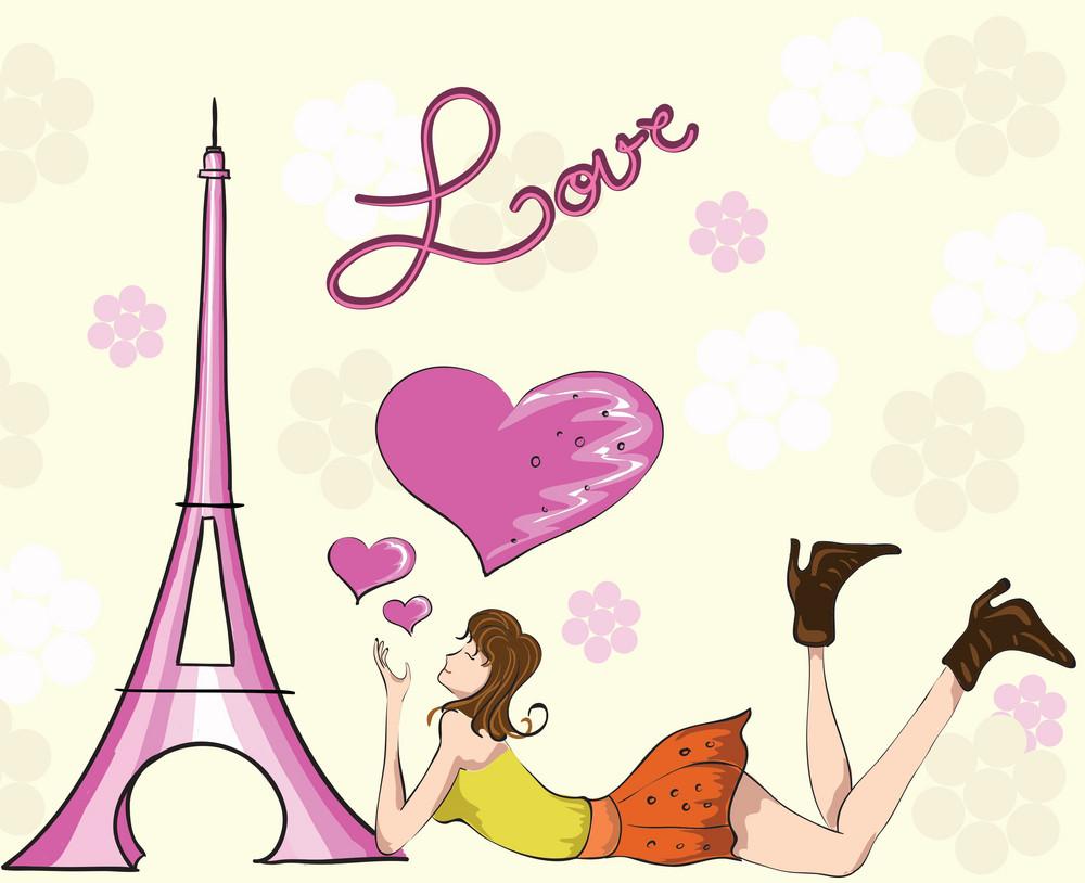 Paris Doodles With Lady Vector Illustration