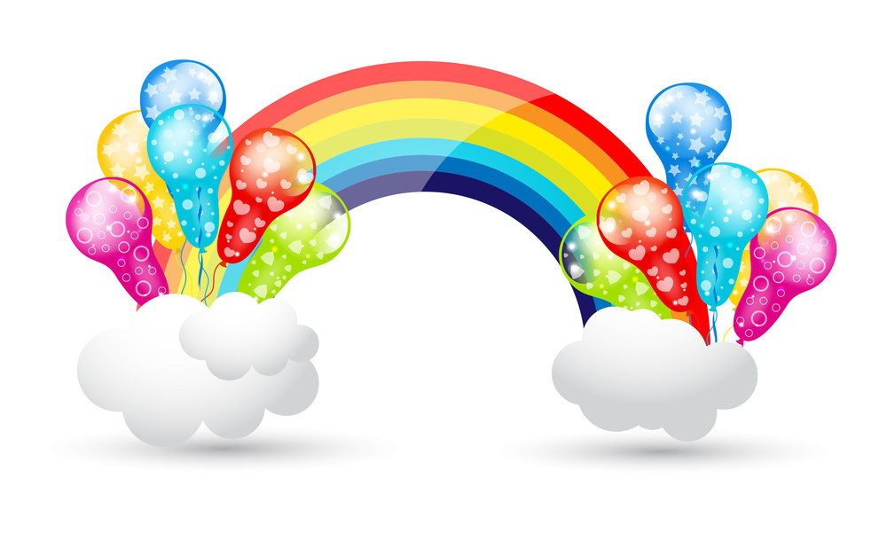 Party Balloons With Rainbow And Clouds