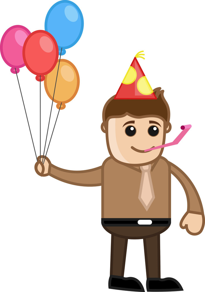 Party Celebration - Cartoon Business Character