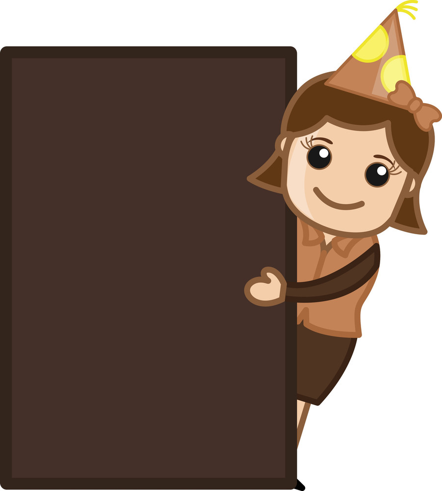 Party Girl Presenting Blank Banner - Cartoon Business Character
