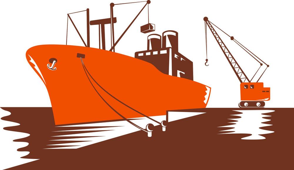 Passenger Cargo Ship With Crane