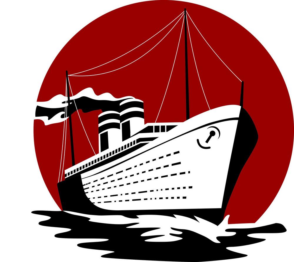 Passenger Ship Cargo Boat Retro