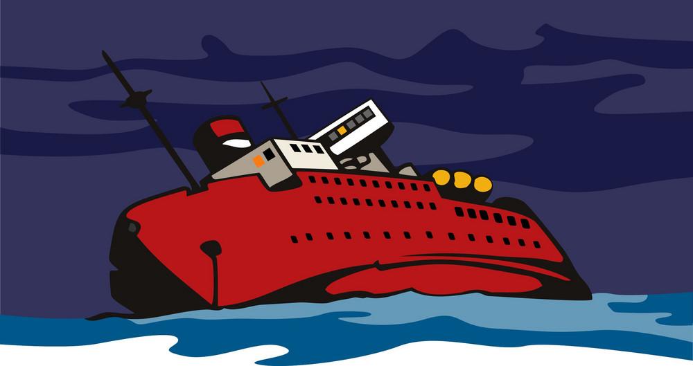 Passenger Ship Cargo Boat Sinking Retro