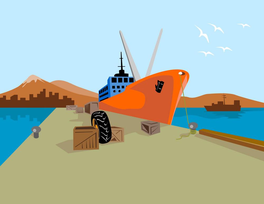 Passenger Ship Ferry Boat Anchor Retro