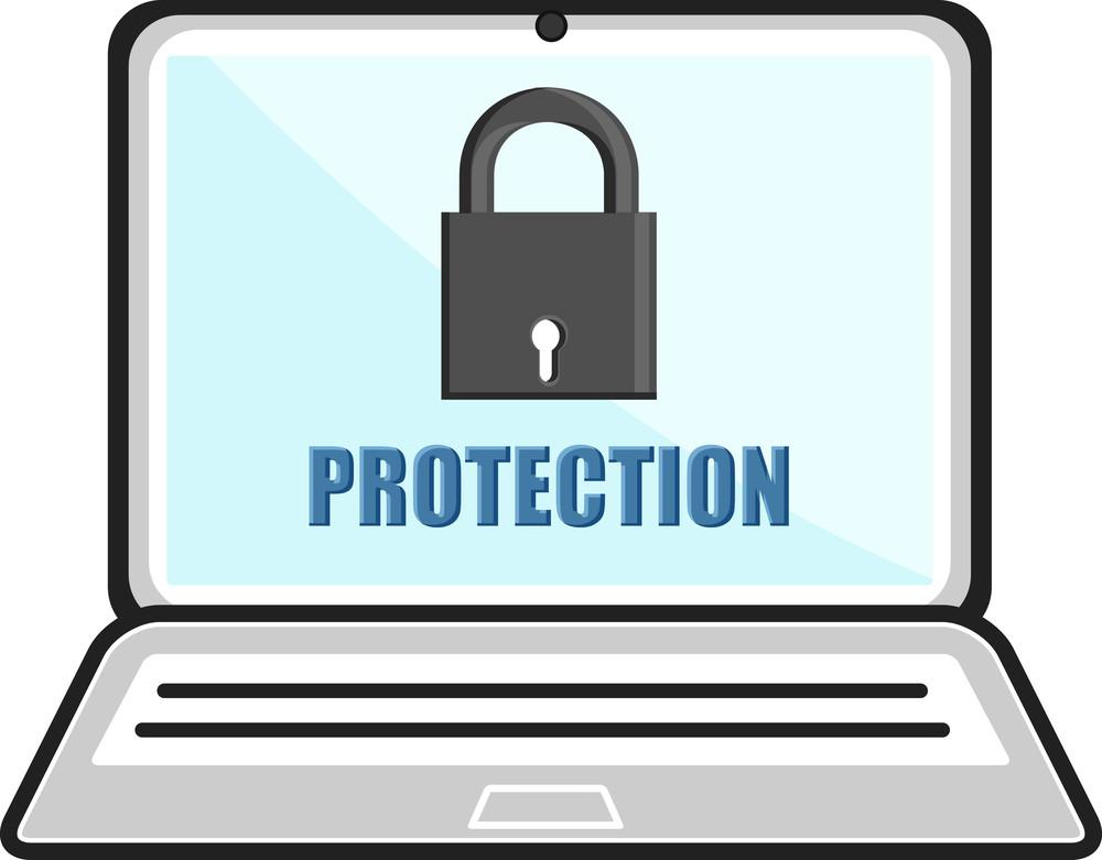 Password Protected - Locked Laptop - Business Cartoons Vectors