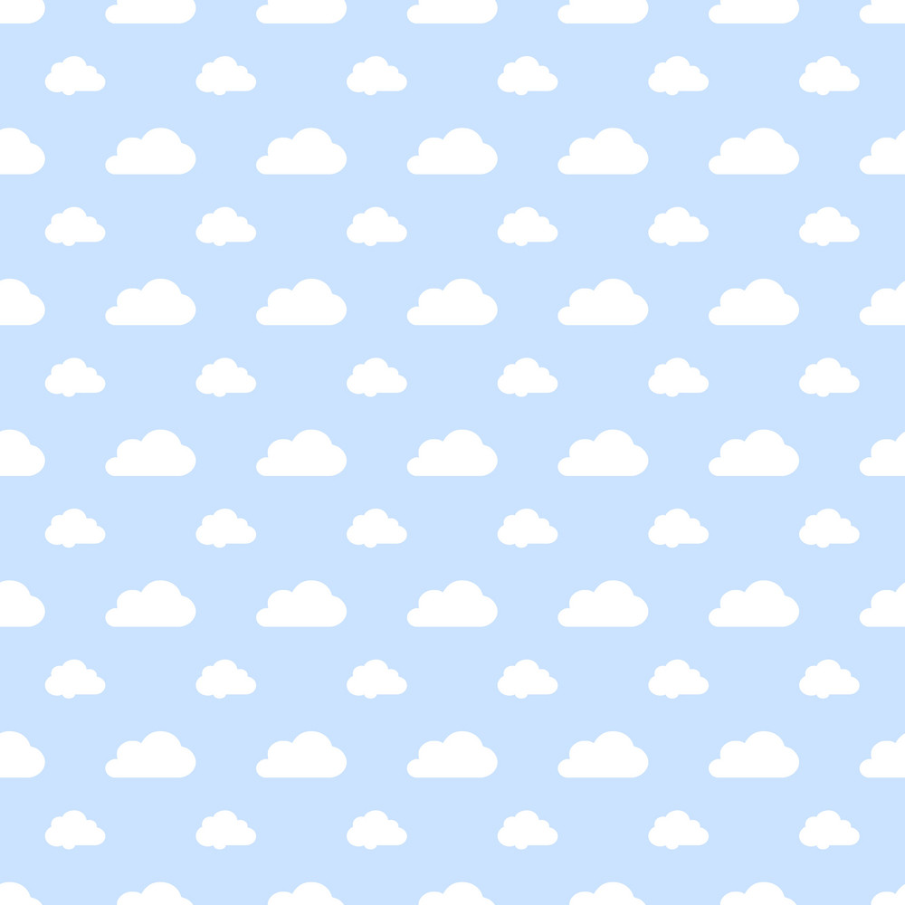 White Cloud Pattern On A Blue Pastel Background