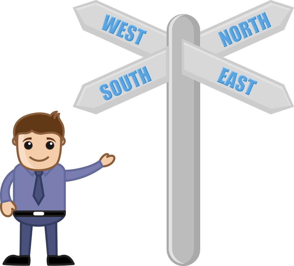 Path Way Sign Board - Vector Character Cartoon Illustration