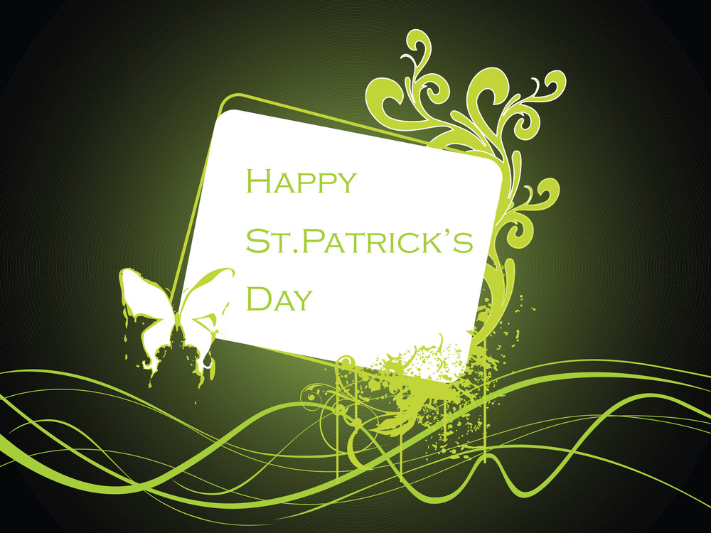 Patrick Day Card With Butterfly 17 March