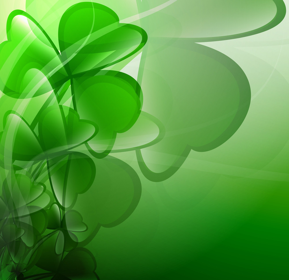 Patrick's Day Clover Leaves Background