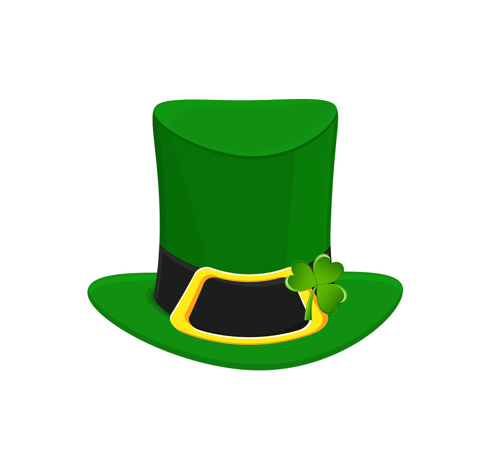 Patrick's Day Leprechaun Hat With Clover Leaf