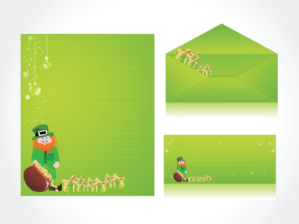 Patrick's Day Letterhead And Postcard
