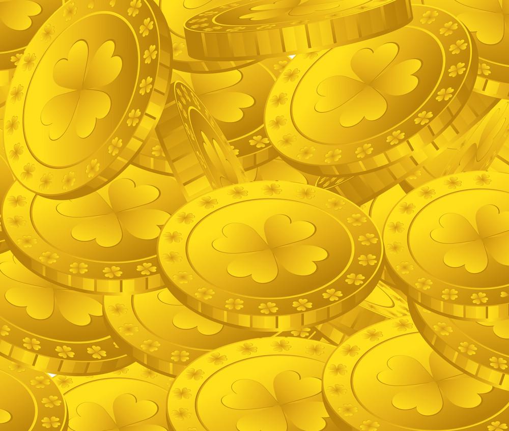 Patrick's Day Shamrock Coins Background