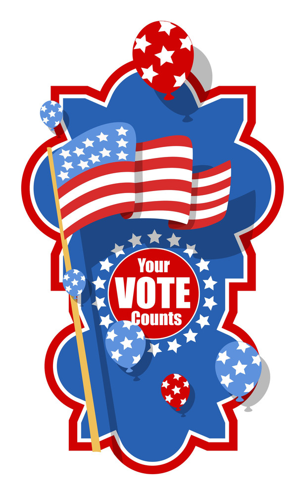Patriotic Theme Your Vote Counts  Election Day Vector Illustration