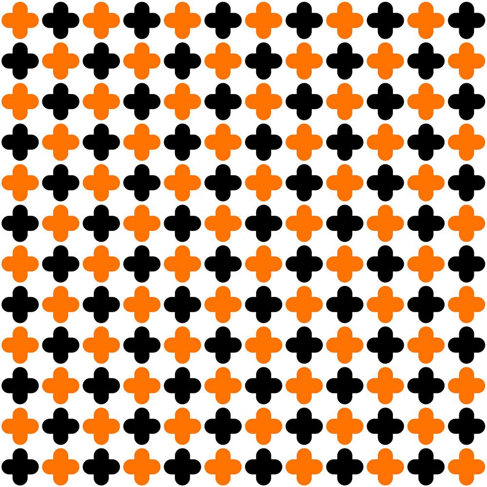 Pattern Of Orange And Black Quatrefoil On A White Background