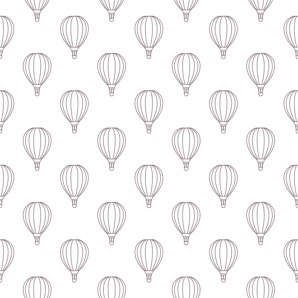 Pattern Of Purple Hot Air Balloons On A White Background