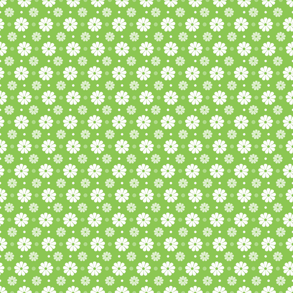 Pattern Of White Flowers On A Lime Green Background