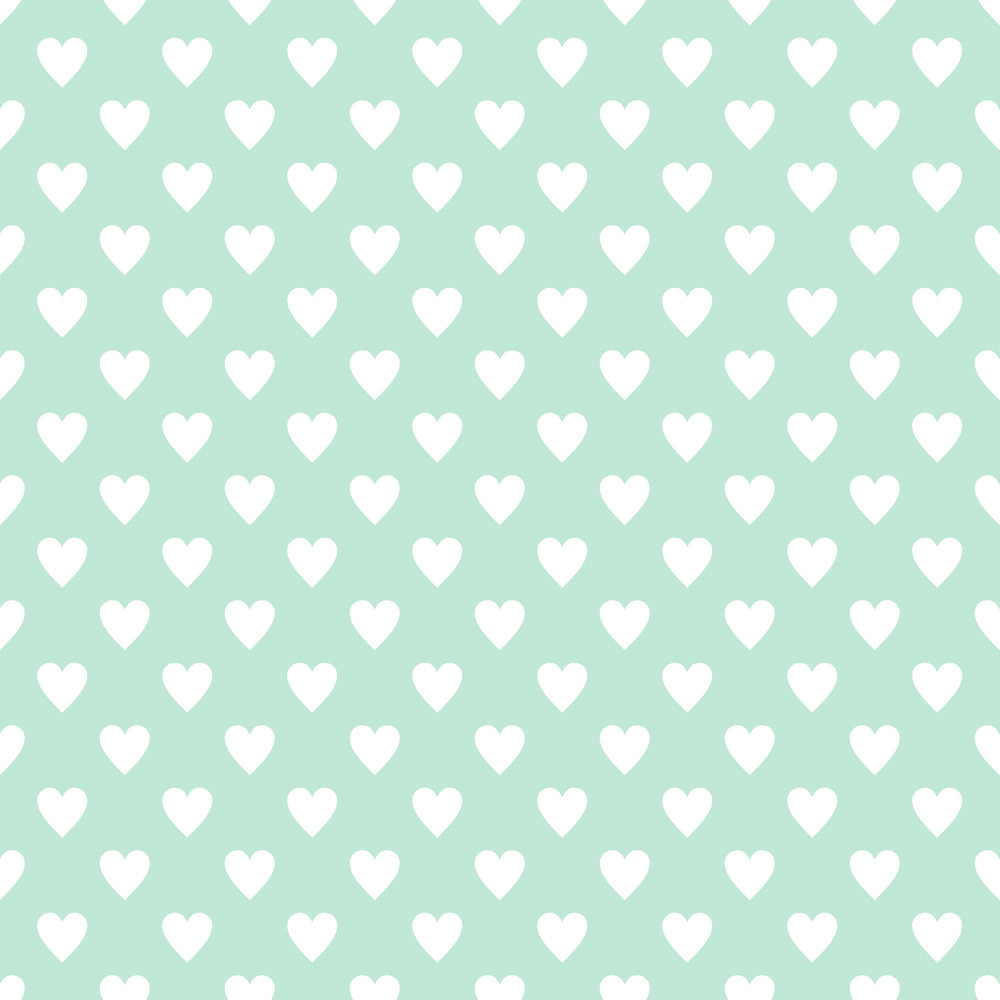 Pattern Of White Hearts On A Light Blue Background
