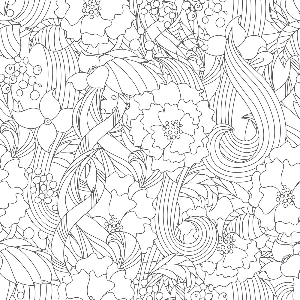 Pattern Vector Element With Flowers