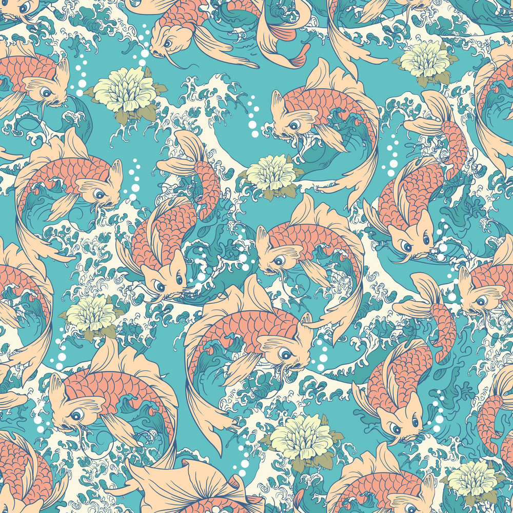 Pattern Vector Element With Japanese Koi Fish
