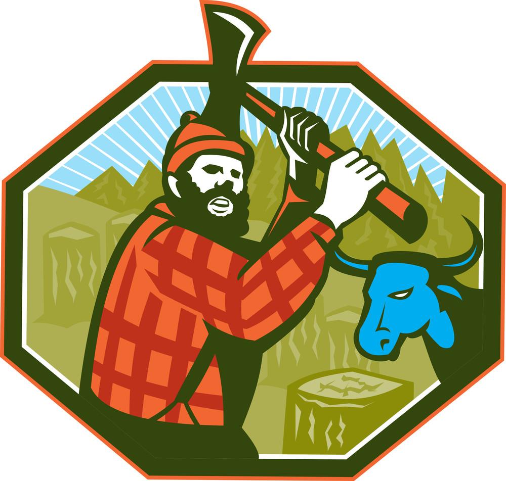 Paul Bunyan Lumberjack Axe Blue Ox